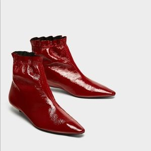 ZARA PATENT FINISH GENUINE LEATHER ANKLE BOOTS